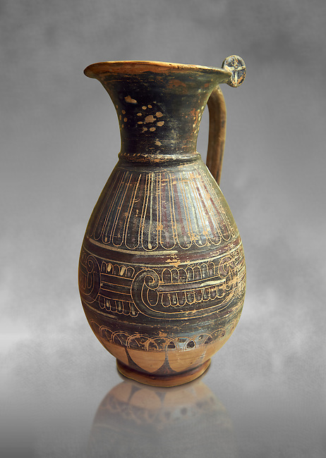 580 - 560 B.C olpai style jug made by the Etrusco-Corinthian Group of Palmette Fenicie, inv 71019,   National Archaeological Museum Florence, Italy  , grey art background