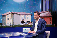 The secretary of Lega Nord party Matteo Salvini, appears as a guest on the talk show 'Porta a Porta'. In the background a Christmas nativity scene representing the little town of Gandino, North of Italy, one of the most hit by Covid-19. <br /> Rome (Italy), December 22nd 2020<br /> Photo Samantha Zucchi Insidefoto