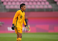 KASHIMA, JAPAN - AUGUST 2: Adrianna Franch #18 of the United States during a game between Canada and USWNT at Kashima Soccer Stadium on August 2, 2021 in Kashima, Japan.