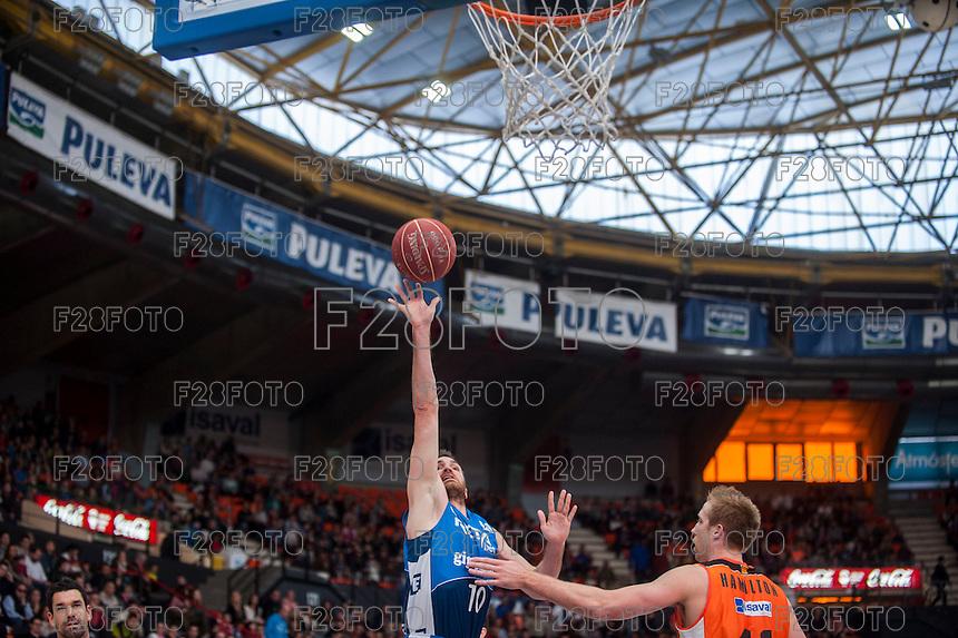 VALENCIA, SPAIN - NOVEMBER 22: Txemi Urtasun, Hamilton during Endesa League match between Valencia Basket Club and Retabet.es GBC at Fonteta Stadium on November 22, 2015 in Valencia, Spain