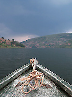 The bow and anchor of a small boat on Lake Bunyonyi, South West Uganda