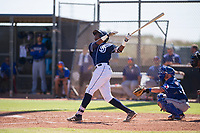 Jerri Landines (87) of the San Diego Padres at bat during an Instructional League game against the Texas Rangers on September 20, 2017 at Peoria Sports Complex in Peoria, Arizona. (Zachary Lucy/Four Seam Images)