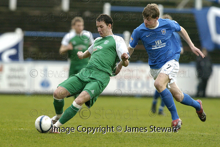 24/02/2007       Copyright Pic: James Stewart.File Name : sct_jspa04_qots_v_hibernian.GUILLAUME BEUZELIN IS PULLED BACK BY JAMIE ADAMS....James Stewart Photo Agency 19 Carronlea Drive, Falkirk. FK2 8DN      Vat Reg No. 607 6932 25.Office     : +44 (0)1324 570906     .Mobile   : +44 (0)7721 416997.Fax         : +44 (0)1324 570906.E-mail  :  jim@jspa.co.uk.If you require further information then contact Jim Stewart on any of the numbers above.........