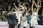 Real Madrid's Ioannis Bourousis, Facundo Campazo, K.C.Rivers and Felipe Reyes celebrate the victory in the Euroleague Final Match. May 15,2015. (ALTERPHOTOS/Acero)