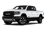 Stock pictures of low aggressive front three quarter view of 2020 Ram RAM-1500 Rebel 4 Door Pick-up Low Aggressive