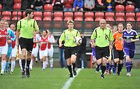 RSC Anderlecht Dames - Ajax Amsterdam : Virginie Derouaux met de bal in de hand.foto DAVID CATRY / Nikonpro.be