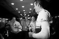 race winner Matthew Hayman (AUS/Orica-GreenEDGE) arrives back on the teambus and is rejoined with his teammates to celebrate his incredible win today with a beer<br /> <br /> 114th Paris-Roubaix 2016