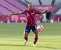 KASHIMA, JAPAN - AUGUST 5: Crystal Dunn #2 of the USWNT controls the ball during a game between Australia and USWNT at Kashima Soccer Stadium on August 5, 2021 in Kashima, Japan.