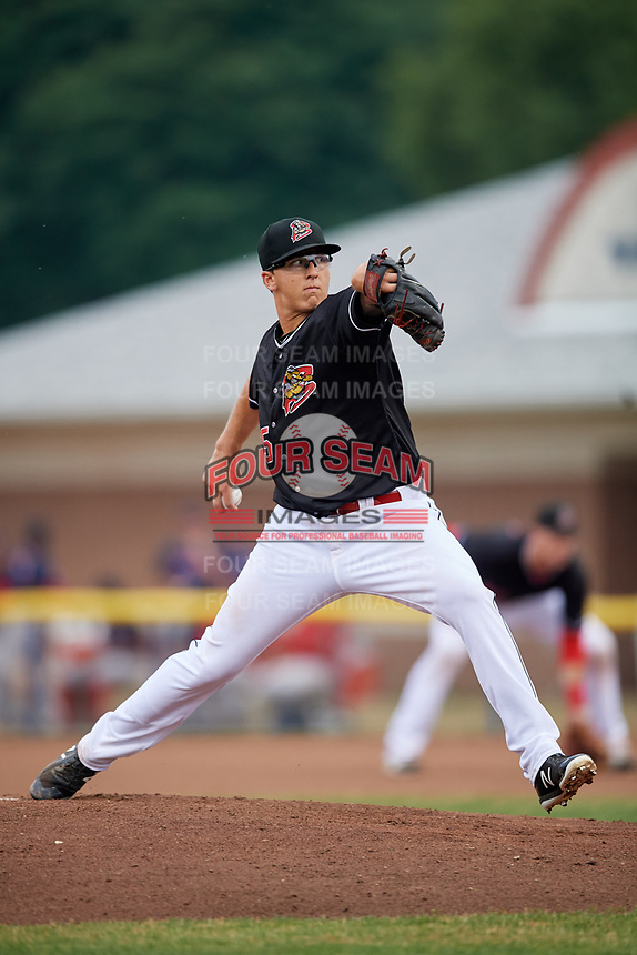 Batavia Muckdogs starting pitcher Peyton Culbertson (35) delivers a pitch during game against the Lowell Spinners on July 14, 2018 at Dwyer Stadium in Batavia, New York.  Lowell defeated Batavia 8-4.  (Mike Janes/Four Seam Images)