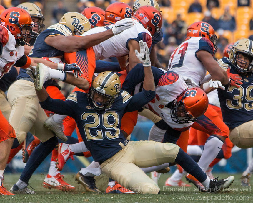 Pitt running back Rachid Ibrahim makes a tackle on a kickoff. The Pitt Panthers defeated the Syracuse Orange 76-61 at Heinz Field in Pittsburgh, Pennsylvania on November 26, 2016.