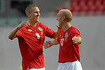 Wales' Steve Morison congratulates David Cotterill on his first half goal during the International Friendly between Wales and Luxembourg at Parc y Scarlets in LLanelli..