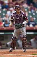Catcher Kevin Gonzalez #10 of the Texas A&M Aggies on defense versus the UC-Irvine Anteaters in the 2009 Houston College Classic at Minute Maid Park February 27, 2009 in Houston, TX.  The Aggies defeated the Anteaters 9-2. (Photo by Brian Westerholt / Four Seam Images)