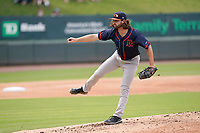 Pitcher Miller Hogan (5) of the Bowling Green Hot Rods in a game against the Greenville Drive on Sunday, May 9, 2021, at Fluor Field at the West End in Greenville, South Carolina. (Tom Priddy/Four Seam Images)