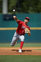 Kade Grundy (58) of Somerset HS in Somerset, KY playing for the Cincinnati Reds scout team during the East Coast Pro Showcase at the Hoover Met Complex on August 3, 2020 in Hoover, AL. (Brian Westerholt/Four Seam Images)