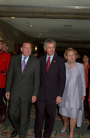 June 25, 2002, Montreal, Quebec, CANADA<br /> <br /> Gerhard Schroder, Chancellor of the Federal Republic of Germany (L)<br /> Pierre Pettigrew, Minister for International Trade, Canada (M) and<br /> Pauline Marois, Deputy Prime Minister, Minister of State for the Economy and Finance, Quebec (R)<br /> ,arrives at the Conference of Montreal, opening lunch,June 25, 2002 in Montreal, CANADA<br /> <br /> Mandatory credit : Photo by Pierre Roussel - Images Distribution<br /> (c) : 2002,Pierre Roussel