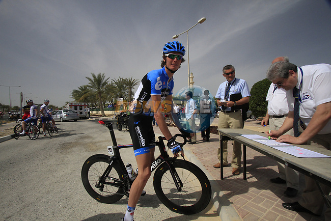 Garmin-Cervelo team rider Johan Van Summeren (BEL) signs on before the start of the 3rd Stage of the 2012 Tour of Qatar running 146.5km from Dukhan Souq, Dukhan to Al Gharafa, Qatar. 7th February 2012.<br /> (Photo Eoin Clarke/Newsfile)