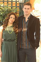 "JENNA DEWAN & CHANNING TATUM .Photocall for ""Stp Up"", Hotel Eden, Rome, Italy..December 15th, 2006.half length dress green necklace brown suit jacket.CAP/CAV.©Luca Cavallari/Capital Pictures"