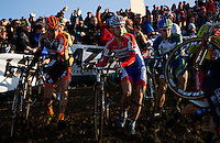 29 NOV 2014 - MILTON KEYNES, GBR - Lars Van Der Haar (NED) (centre) from the Netherlands and Development Team Giant-Shimano runs in a pack during the men's 2014-2015 UCI Cyclo-Cross World Cup round at Campbell Park in Milton Keynes, Great Britain (PHOTO COPYRIGHT © 2014 NIGEL FARROW, ALL RIGHTS RESERVED)