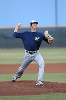 Scott Grist (36) of the AZL Brewers pitches during a game against the AZL Reds at Cincinnati Reds Spring Training Complex on July 5, 2015 in Goodyear, Arizona. Reds defeated the Brewers, 9-4. (Larry Goren/Four Seam Images)