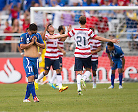 Rodolfo Zelaya (11) of El Salvador reacts to a United States goal during the quarterfinals of the CONCACAF Gold Cup at M&T Bank Stadium in Baltimore, MD.  The United States defeated El Salvador, 5-1.
