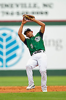 Second baseman Eduardo Escobar #3 of the Charlotte Knights catches a pop fly against the Syracuse Chiefs at Knights Stadium on June 19, 2011 in Fort Mill, South Carolina.  The Knights defeated the Chiefs 10-9.    (Brian Westerholt / Four Seam Images)