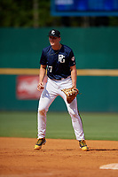 Daniel Brooks (17) of Bishop England High School in Mount Pleasant, SC during the Perfect Game National Showcase at Hoover Metropolitan Stadium on June 18, 2020 in Hoover, Alabama. (Mike Janes/Four Seam Images)