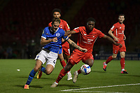 Teddy Jenks of Brighton & Hove Albion (U23s) battles with Shadrach Ogie during the EFL Trophy behind closed doors match between Leyton Orient and Brighton & Hove Albion Under 21s at the Matchroom Stadium, London, England played without supporters able to attend due to ongoing covid-19 government guidelines on 8 September 2020. Photo by Vince  Mignott.