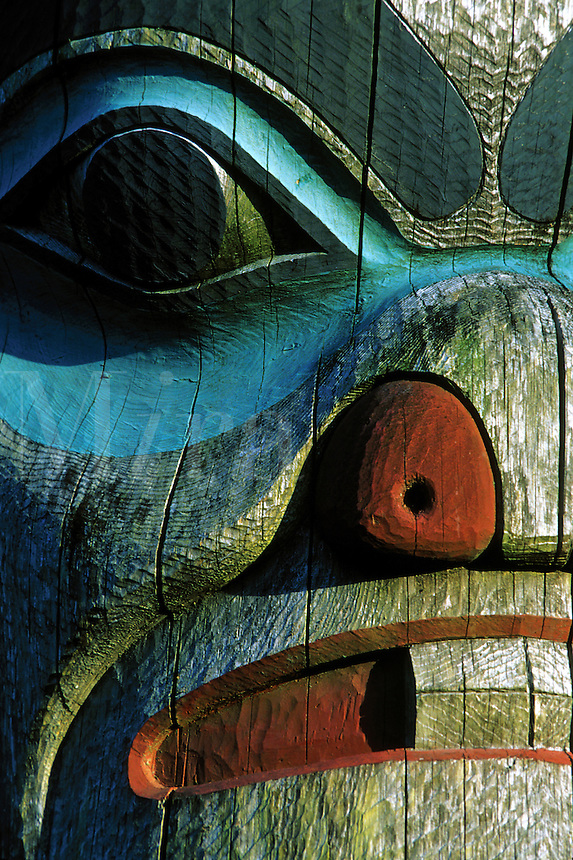Detail of the painted face of a traditional Native Alaskan totem.