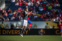 Orlando, Florida - Saturday, June 04, 2016: Paraguayan forward Robert Piris Da Motta (23) battles for a header during a Group A Copa America Centenario match between Costa Rica and Paraguay at Camping World Stadium.