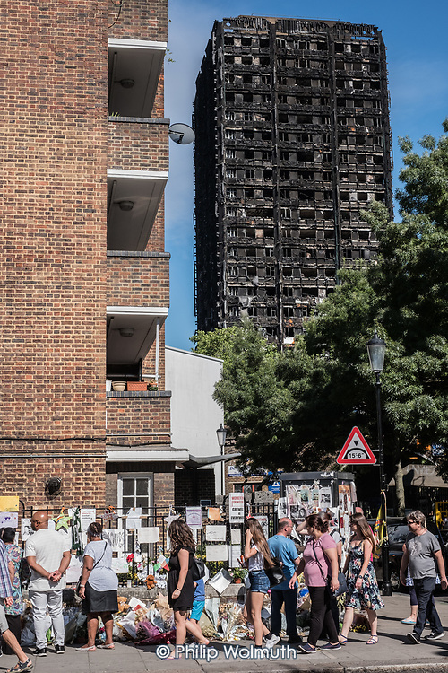 Memorial close to the burnt-out shell of Grenfell Tower, Kensington & Chelsea, London.