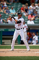 Indianapolis Indians Erik Gonzalez (37) bats during an International League game against the Syracuse Mets on July 17, 2019 at Victory Field in Indianapolis, Indiana.  Syracuse defeated Indianapolis 15-5  (Mike Janes/Four Seam Images)