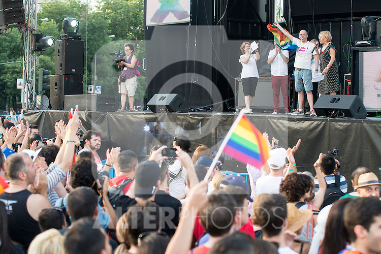 Mayor Madrid Manuela Carmena attends to the protest during Gay Pride celebrations in Madrid, Spain. July 04, 2015.<br />  (ALTERPHOTOS/BorjaB.Hojas)