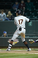 Zach Jarrett (17) of the Frederick Keys at bat against the Winston-Salem Dash at BB&T Ballpark on April 26, 2019 in Winston-Salem, North Carolina. The Keys defeated the Warthogs 7-0. (Brian Westerholt/Four Seam Images)