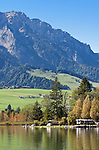 Austria, Tyrol, Kaiserwinkl, Walchsee: holiday resort at Lake Walchsee and Zahmer Kaiser mountain - campground | Oesterreich, Tirol, Kaiserwinkl, Walchsee: Ort und gleichnamiger See, Ferienregion am Zahmen Kaiser - Campingplatz