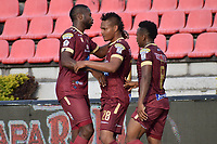 IBAGUE - COLOMBIA, 08-03-2020: Luis Fernando Miranda (#28) del Tolima celebra después de anotar el segundo gol de su equipo partido entre Deportes Tolima y Alianza Petrolera por la fecha 14 de la Liga BetPlay I 2020 jugado en el estadio Manuel Murillo Toro de la ciudad de Ibagué. / Luis Fernando Miranda (#28) of Tolima celebrates after scoring the first goal of his team during match between Deportes Tolima and Alianza Petrolera for the date 4 as part of BetPlay League I 2020 played at Manuel Murillo Toro stadium in Ibague. Photo: VizzorImage / Joan Orjuela / Cont