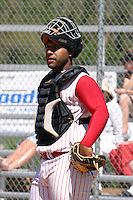 March 29, 2005:  Catcher Jose Jimenez of Monsignor Pace High School during a game at Bishop Moore Catholic High School in Orlando, FL.  Jimenez attended the University of Tampa and was drafted by the Los Angeles Angels in the 47th round of the 2009 MLB draft.  Photo By Mike Janes/Four Seam Images