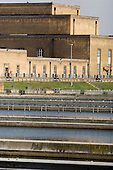 Filter beds at Thames Water's advanced water treatment works in Hampton, West London.