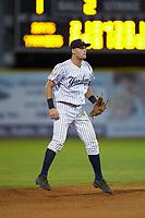 Pulaski Yankees shortstop Max Burt (17) on defense against the Princeton Rays at Calfee Park on July 14, 2018 in Pulaski, Virginia. The Rays defeated the Yankees 13-1.  (Brian Westerholt/Four Seam Images)
