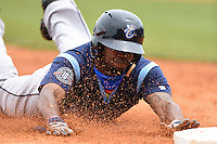 Corpus Christi Hooks outfielder Delino DeShields (1) steals third during a game against the NW Arkansas Naturals on May 26, 2014 at Arvest Ballpark in Springdale, Arkansas.  NW Arkansas defeated Corpus Christi 5-3.  (Mike Janes/Four Seam Images)