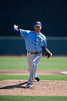 Tampa Bay Rays starting pitcher Charlie Morton (50) delivers a pitch during a Grapefruit League Spring Training game against the Baltimore Orioles on March 1, 2019 at Ed Smith Stadium in Sarasota, Florida.  Rays defeated the Orioles 10-5.  (Mike Janes/Four Seam Images)