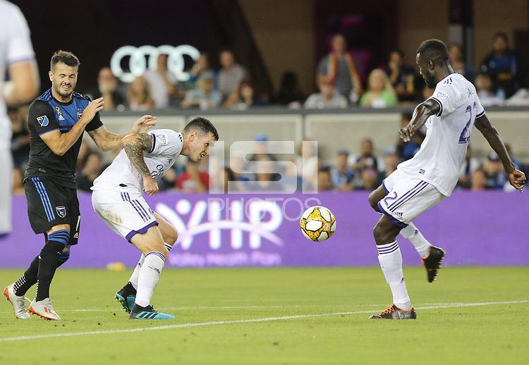 SAN JOSE, CA - AUGUST 31: Lamine Sané of the Orlando City SC during a Major League Soccer (MLS) match between the San Jose Earthquakes and the Orlando City SC  on August 31, 2019 at Avaya Stadium in San Jose, California.