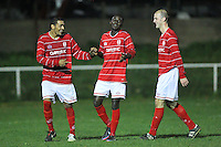 Clapton celebrate scoring their third goal - Clapton vs Ilford - Essex Senior League Football at the Old Spotted Dog Ground, Upton Park, London - 01/10/13 - MANDATORY CREDIT: Gavin Ellis/TGSPHOTO - Self billing applies where appropriate - 0845 094 6026 - contact@tgsphoto.co.uk - NO UNPAID USE