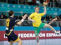Spain's Viran Morros (l) and Australia's Tim Anderson during 23rd Men's Handball World Championship preliminary round match.January 15,2013. (ALTERPHOTOS/Acero) /NortePhoto