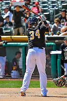 Juan Graterol (34) of the Salt Lake Bees at bat against the El Paso Chihuahuas in Pacific Coast League action at Smith's Ballpark on April 24, 2016 in Salt Lake City, Utah. This was Game 1 of a double-header.  El Paso defeated Salt Lake 7-0. (Stephen Smith/Four Seam Images)