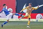 20.02.2021, xtgx, Fussball 3. Liga, FC Hansa Rostock - SV Waldhof Mannheim, v.l. Julian Riedel (Hansa Rostock, 3), Anthony Roczen (Mannheim) Zweikampf, Duell, Kampf, tackle Torschuss, schiesst den Ball aufs Tor, Schuss <br /> <br /> (DFL/DFB REGULATIONS PROHIBIT ANY USE OF PHOTOGRAPHS as IMAGE SEQUENCES and/or QUASI-VIDEO)<br /> <br /> Foto © PIX-Sportfotos *** Foto ist honorarpflichtig! *** Auf Anfrage in hoeherer Qualitaet/Aufloesung. Belegexemplar erbeten. Veroeffentlichung ausschliesslich fuer journalistisch-publizistische Zwecke. For editorial use only.