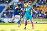 St Johnstone v Lask…26.08.21  McDiarmid Park    Europa Conference League Qualifier<br />Glenn Middleton charges down Lask keeper Alexander Schlager<br />Picture by Graeme Hart.<br />Copyright Perthshire Picture Agency<br />Tel: 01738 623350  Mobile: 07990 594431