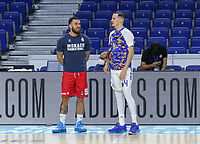 13th October 2021; Wizink Center; Madrid, Spain; Turkish Airlines Euroleague Basketball , Real Madrid versus AS Monaco; Thomas Heurtel of Real Madrid Baloncesto and Mike James of AS Monaco talk during warm up
