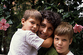 Sao Paulo, Brazil. Brazilian Italian mother and her two children.