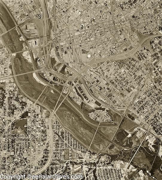historical aerial photograph of Dallas Texas, 1968