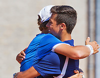 August 9, 2014, Netherlands, Rotterdam, TV Victoria, Tennis, National Junior Championships, NJK,  Final boys 16 years doubles: Ruben Konings(R) and Bart Stevens celebrate their win(NED)<br /> Photo: Tennisimages/Henk Koster